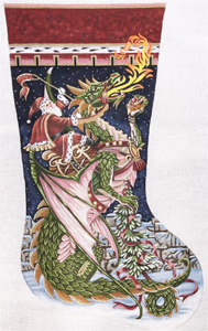 Santa and Dragon Hand Painted Needlepoint Stocking Canvas