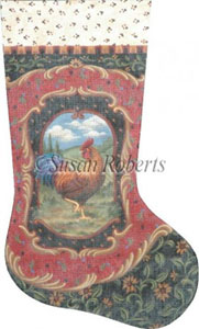 Rooster Hand Painted Needlepoint Stocking Canvas
