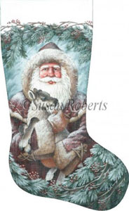 Santa and Baby Reindeer Hand Painted Needlepoint Stocking Canvas