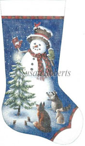 Snowman Christmas Hand Painted Needlepoint Stocking Canvas