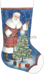 Santa's Own Christmas Hand Painted Needlepoint Stocking Canvas