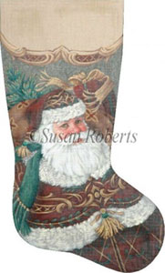 Burgundy Santa Hand Painted Needlepoint Stocking Canvas
