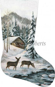 Cabin in the Woods Hand Painted Needlepoint Stocking Canvas