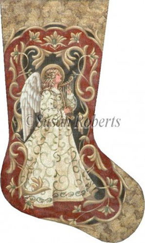 Needlepointus Vintage Angel Hand Painted Needlepoint