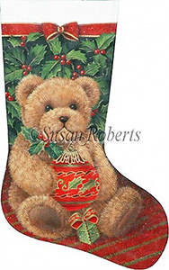 Holly Bear - 18 Count Hand Painted Needlepoint Stocking Canvas