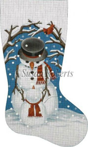 Papa Snowman Hand Painted Needlepoint Stocking Canvas