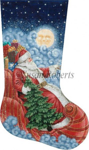 Moonlight Santa - 18 Count Hand Painted Needlepoint Stocking Canvas