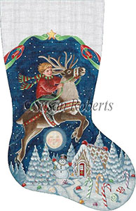 Boy on a Reindeer Hand Painted Needlepoint Stocking Canvas