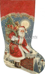Santa Sneaks In Hand Painted Needlepoint Stocking Canvas
