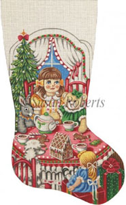 Christmas Tea Party - 13 Count Hand Painted Needlepoint Stocking Canvas