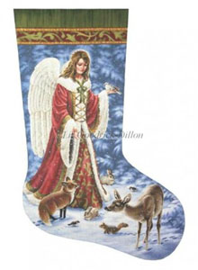Angel & Animals - 18 Count  Needlepoint Christmas Stocking Canvas