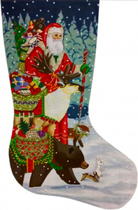 Christmas Offerings Hand Painted Needlepoint Stocking Canvas - Liz Goodrick-Dillon with Custom Kit