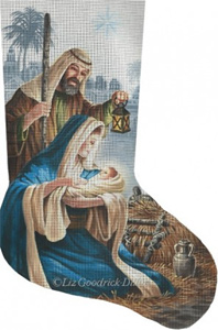 Miracle In Bethlehem Hand Painted Needlepoint Stocking Canvas