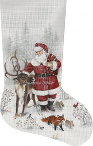 Santa & Reindeer Hand Painted Needlepoint Stocking Canvas - Liz Goodrick-Dillon