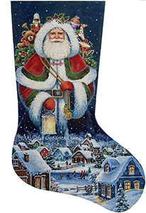 Spirit of Christmas Village Hand Painted Needlepoint Stocking Canvas - Liz Goodrick-Dillon