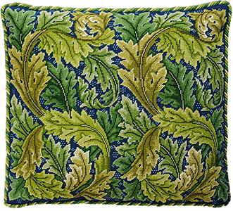 Beth Russell Needlepoint - Acanthus Leaves Collection - Acanthus Leaves Cushion - Green/Blue Background - Kit
