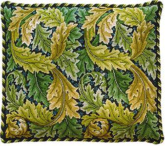 Beth Russell Needlepoint - Acanthus Leaves Collection - Acanthus Leaves Cushion - Green/Dark Grey Background - Kit