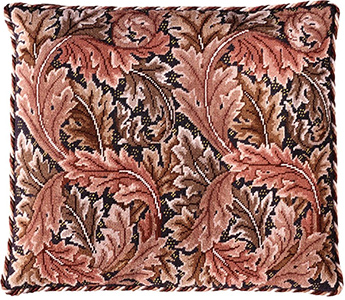 Beth Russell Needlepoint - Acanthus Leaves Collection - Acanthus Leaves Cushion - Red/Grey Background - Kit