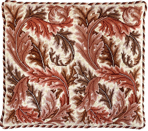 Beth Russell Needlepoint - Acanthus Leaves Collection - Acanthus Leaves Cushion - Red/Ivory Background - Kit