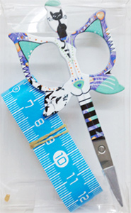 "Bohin 3.5"" Cat Scissors & Measuring Tape Blue"