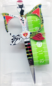 "Bohin 3.5"" Cat Scissors & Measuring Tape Green"