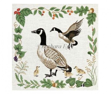 Barbara Eyre Needlepoint Designs - Hand-painted Canvas - Canadian Geese (Game Bird Rug)