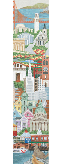 San Francisco Needlepoint Bell Pull