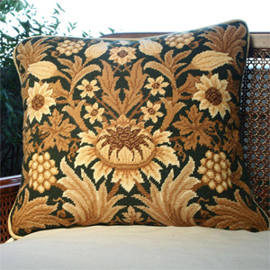 Beth Russell Needlepoint - Sunflower Collection - Sunflower 1 Pillow/Chairseat Kit Green Background