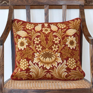 Beth Russell Needlepoint - Sunflower Collection - Sunflower 1 Pillow/Chairseat Kit Paprika Background