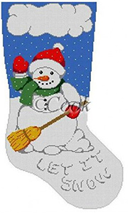 "Snowman ""Let It Snow"" Hand Painted Needlepoint Christmas Stocking Canvas by Cook"