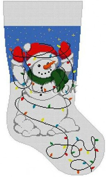 Snowman Tangled In Lights (Joy) Hand Painted Needlepoint Christmas Stocking Canvas by Cook