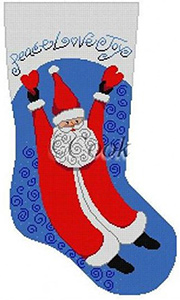 Soaring Santa With Hearts, Blue Hand Painted Needlepoint Christmas Stocking Canvas by Cook