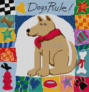 Dogs Rule Hand Painted Canvas