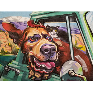 Going for a Ride Hand Painted Needlepoint Canvas from Constance Townsend