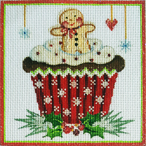 Gingerbread Man Cupcake Hand-painted Needlepoint Canvas