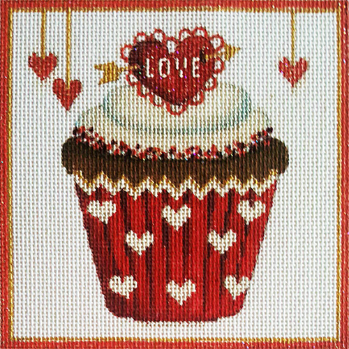 Love Cupcake Hand-painted Needlepoint Canvas