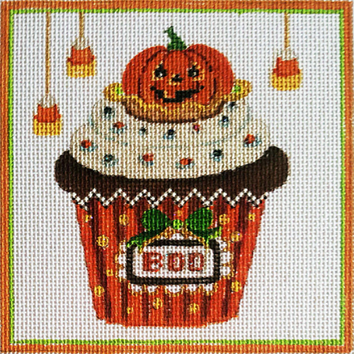 Halloween Cupcake Hand-painted Needlepoint Canvas