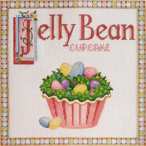 Jelly Bean Cupcake Hand-painted Needlepoint Canvas