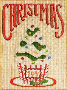 Christmas Cupcake Hand-painted Needlepoint Canvas