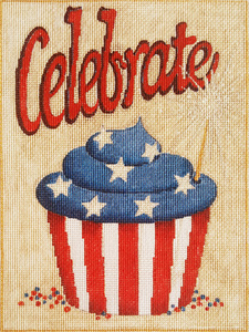 Celebrate Cupcake Hand-painted Needlepoint Canvas