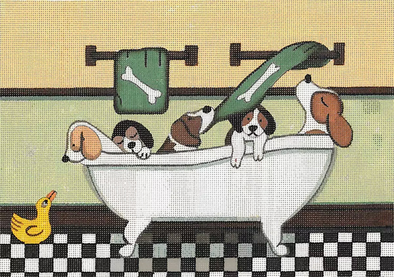 Beagles Fill the Tub Hand Painted Needlepoint Canvas from Cindi Lynch