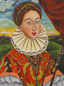 The Queen of Everything Hand Painted Needlepoint Canvas by Catherine Nolin