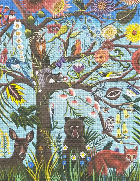 The Tree of Life Hand Painted Needlepoint Canvas by Catherine Nolin