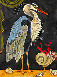 Blue Heron Hand-painted Needlepoint Canvas