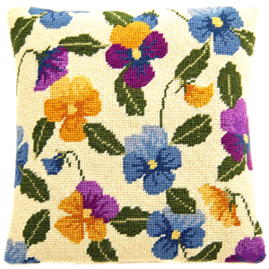 Pansy Needlepoint Herb Cushion Kit