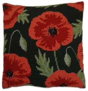 Wild Poppy Needlepoint Herb Cushion Kit