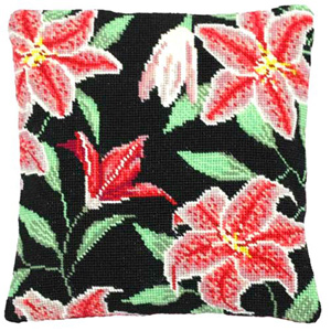 Stargazer Lily Needlepoint Herb Cushion Kit