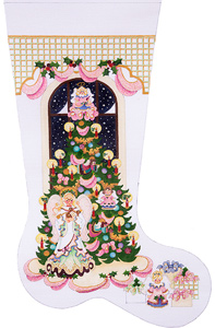 Angel Tree Hand-painted Christmas Stocking Canvas