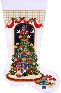 Nutcracker Tree Hand-painted Christmas Stocking Canvas