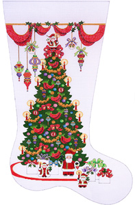 Decorated Tree Hand-painted Christmas Stocking Canvas